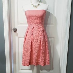 J CREW Coral Seersucker Strapless A Line Dress